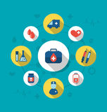 Set trendy flat icons of medical elements and objects Stock Image