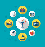 Set trendy flat icons of medical elements and objects Royalty Free Stock Image