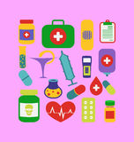 Set trendy flat medical icons Stock Photos