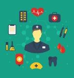 Set trendy flat medical icons Stock Photos