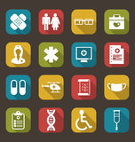Set Trendy Flat Medical Icons Stock Images