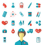 Set trendy flat medical icons isolated on white background Stock Photo