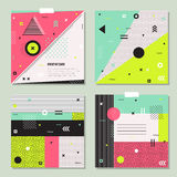 Set of trendy geometric elements memphis cards. Royalty Free Stock Images