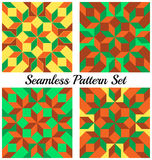 Set of 4 trendy geometric seamless patterns with rhombus and squares of green, orange, yellow and brown shades Stock Photo