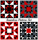 Set of 4 trendy geometric seamless patterns with triangles and squares of red, black, grey and white shades. Set of four abstract trendy geometric seamless vector illustration
