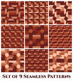 Set of 9 trendy geometric seamless patterns with windmill, circle, rectangle, square and triangle shapes of beige and brown shades Stock Image