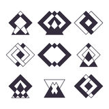 Set of 9 trendy geometric shapes. Ethnic tattoo.  Stock Photos