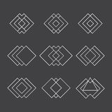 Set of trendy geometric shapes. Ethnic tattoo. Hipster logotypes Royalty Free Stock Photography