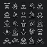 Set of 25 trendy geometric shapes. Hipster retro signs for logot Stock Photo