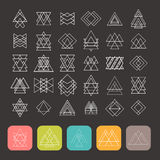 Set of 35 trendy geometric shapes. Hipster retro signs. For logotypes and business cards. Vector illustration Royalty Free Stock Photos
