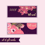 Set of trendy gift card templates with flowers  Royalty Free Stock Image