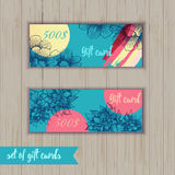 Set of trendy gift card templates with flowers  Royalty Free Stock Photo