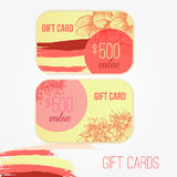 Set of trendy gift card templates with flowers  Stock Photography