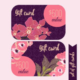 Set of trendy gift card templates with flowers  Stock Photos