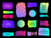 Set of trendy gradient grunge  paint background with frame. Dirt. Y artistic design elements, boxes, frames for text. Vector illustration Royalty Free Stock Photos