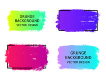 Set of trendy gradient grunge  paint background with frame. Dirt. Y artistic design elements, boxes, frames for text. Vector illustration Royalty Free Stock Images