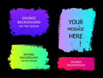 Set of trendy gradient grunge  paint background with frame. Dirt. Y artistic design elements, boxes, frames for text. Vector illustration Stock Images