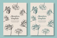 Set of trendy hand drawn palm leaves backgrounds. Tropical vector templates. Decorative greeting card, invitation or poster. vector illustration
