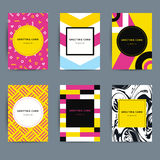 Set of trendy hipster geometric greeting cards design. Royalty Free Stock Photography