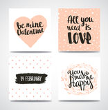 Set of trendy hipster Valentine Cards. Hand drawn vector backgrounds. Set of calligraphic headlines Royalty Free Stock Photos