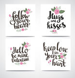 Set of trendy hipster Valentine Cards. Hand drawn vector backgrounds. Set of Valentine's calligraphics. Set of trendy hipster Valentine Cards. Hand drawn vector Royalty Free Stock Image