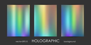 Set of Trendy Holographic Backgrounds for Cover, Flyer, Brochure, Poster, Wedding Invitation, Wallpaper, Backdrop Stock Photos