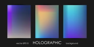 Set of Trendy Holographic Backgrounds for Cover, Flyer, Brochure, Poster, Wedding Invitation, Wallpaper, Backdrop Royalty Free Stock Images