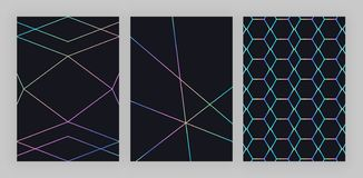 Set trendy holographic geometric design. Colorful polygonal lines on the black background. Modern pattern for flyer, invitation, c