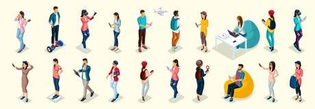 Isometric Teenager Stylish Student Uses Hi Tech vector illustration
