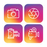 Set of trendy linear icon. S presented on a modern new gradient background. Vintage camera, photo, film, lens, shutter, painted colors of the rainbow. Blur logo Royalty Free Stock Images