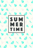 Set trendy linear style summer time poster icons Royalty Free Stock Images