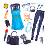 Set of trendy look. Watercolor clothes Stock Images