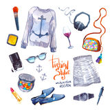 Set of trendy look. Watercolor clothes Stock Photo