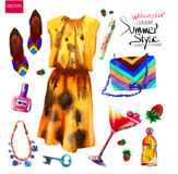 Set of trendy look, watercolor Stock Photography