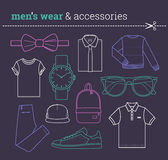 Set of trendy male wear and accessories Lineart Royalty Free Stock Photography