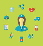 Set trendy medical icons in flat style Royalty Free Stock Images