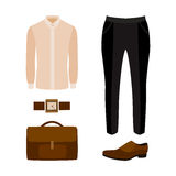 Set of trendy men's clothes with black pants, shirt  Royalty Free Stock Photography