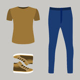 Set of trendy men's clothes with blue jeans, t-shirt and sneaker Stock Images