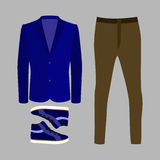 Set of trendy men's clothes with brown pants, blue jacket  Stock Images