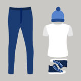 Set of trendy men's clothes with jeans, t-shirt, cap and sneaker Royalty Free Stock Photo