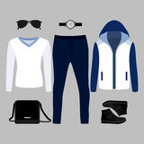 Set of  trendy men's clothes. Outfit of man blazer, pullover, pants and accessories. Men's wardrobe Stock Photo