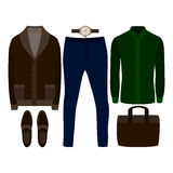 Set of  trendy men's clothes. Outfit of man cardigan, shirt, pants and accessories. Men's wardrobe Stock Photography
