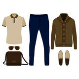 Set of  trendy men's clothes. Outfit of man cardigan, t-shirt, pants and accessories. Men's wardrobe Royalty Free Stock Photos