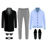 Set of  trendy men's clothes. Outfit of man coat, cardigan, pants and accessories. Men's wardrobe Stock Photos