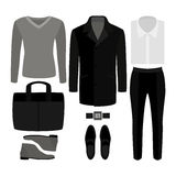 Set of  trendy men's clothes. Outfit of man coat, pants, pullove. R, shirt and accessories. Men's wardrobe. Vector illustration Stock Photo