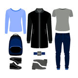 Set of  trendy men's clothes. Outfit of man coat, pants, pullove Royalty Free Stock Image