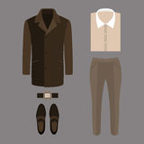 Set of  trendy men's clothes. Outfit of man coat, pants, shirt a Stock Photo