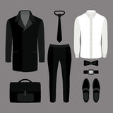 Set of  trendy men's clothes. Outfit of man coat, pants, shirt a Royalty Free Stock Images