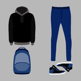 Set of  trendy men's clothes. Outfit of man  jeans, hoody and ac. Set of  trendy men's clothes. Outfit of man jeans, hoody and accessories. Men's wardrobe Stock Images