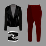 Set of  trendy men's clothes. Outfit of man pants, rocker jacket Royalty Free Stock Photos